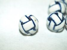 Vintage Blue White Porcelain Chinese Bead Basket Weave Endless Knot 15mm Round