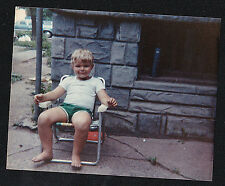 Vintage Photograph Adorable Little Boy Sitting on Chair Outside