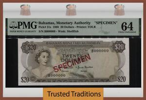 TT PK 31s 1968 BAHAMAS 20 DOLLARS SPECIMEN QUEEN ELIZABETH II PMG 64 CHOICE UNC.