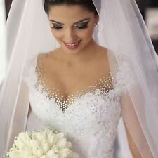 Crystal Cup sleeve A-Line Bridal Gown Lace white/ivory Wedding Dress Custom Size