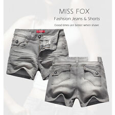 Ladies Miss Fox Grey Denim Women Jeans Shorts-size 16