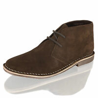 MENS BOYS LEATHER TAN CHUKKA DESERT MID LACE UP ANKLE BOOTS SHOES SIZE 7-12