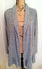 Bobeau Cardigan Sweater XL Petite Ruffled Bottom Heather Gray Open Front