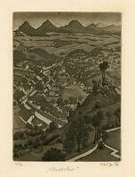 Old Village Vintage Original Limited Ed Etching Ex libris Graphic, Herbert Kisza