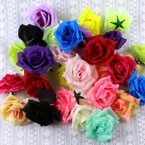 """Lot 3"""" Fake Large Rose Floral Artificial Silk Flower Heads Wedding Home Decor"""