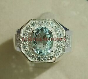 Natural Aquamarine Gemstone with 925 Sterling Silver Ring for Men's #2257