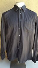 BOSS Men's Brown-Blk Tonal Striped Button Front Ctn Long Slv Shirt XXL Hungary