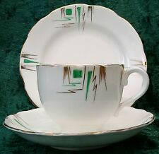 Vintage Art Deco Samuel Radfords China Tea Trio Cup Saucer Plate Set Gold Green