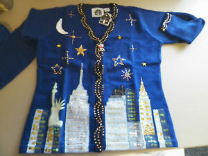 "NWT~Storybook Knits ""New York Night"" Cardigan~w Original SBK USA Crystal Pin"