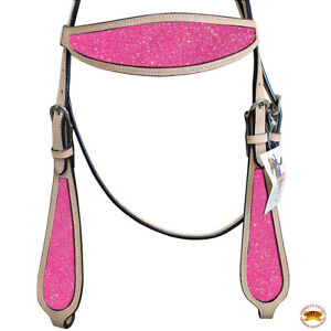 Hilason Western Horse Headstall Bridle American Leather Tan Pink Inlay