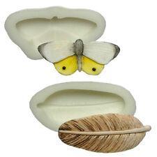 STAMPI in SILICONE-Set di due-Farfalla & Feather-la sicurezza degli alimenti