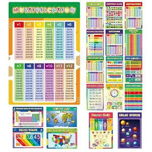 18 Math Educational Posters, Laminated Number Chart 1-100 for Kids, ABC Alpha...
