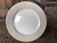 "FITZ & FLOYD china DYNASTY pattern SALAD Dessert PLATE 6-1/2"" Gold Cross Hatch"