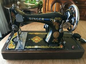 Vintage Singer Sewing Machine with Bentwood Carry Case - Serial #G9843870 - USA