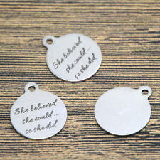 10pcs she believe she could so she did charm silver tone message pendant 20mm