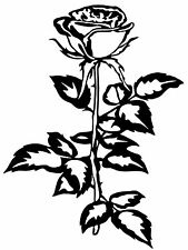 "ROSE Vinyl Decal Sticker Car Window Bumper Wall Laptop Flower Black 6"" x 8"""