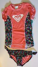 NWT Roxy 14 Orange Color Pop Logo Girls 2 Pc Rash Guard Tankini Swimsuit Set