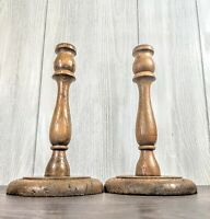 """Beautiful Set of 2 farmhouse Vintage Wooden Candle Holders 9.5"""""""