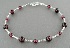Garnet Bracelet with Sterling Silver Spacers - Small to Plus Size
