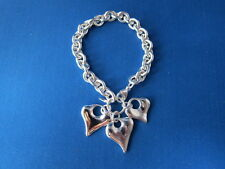Triple Heart Charm Bracelet 40.3 Gw New Robert Lee Morris Sterling Silver