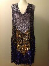 Religion dark grey tunic dress sequins silver gold purple, size L