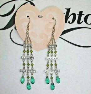 BRIGHTON EARRINGS Swarovski Crystals in Shades of Green RETAIL $78