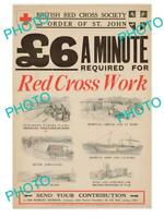 POSTCARD SIZE PHOTO OF WWI  MILITARY POSTER c1915 BRITISH RED CROSS WORK FUND