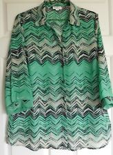 MILLERS WOMENS Sz 16 GREEN / BLACK / BEIGE PATTERNED BLOUSE / SHIRT (AS NEW)