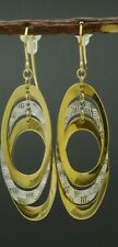REAL 10k Yellow Gold  Diamond-Cut and Polished Multi-Oval Drop Earrings