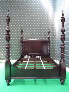 "UK STOCK ~ Double 4'6"" dark mahogany Dutch Style Four poster luxury canopy Bed"