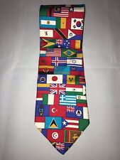International Country United Nations Flags Classic Neck Tie 100% Silk Made Usa