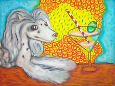 Chinese Crested Drinking a Martini Art Print 8x10 Dog Collectible Artist Signed