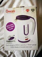 Swan dual voltage travel kettle - includes 2 cups - camping