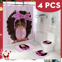 Colorful Bath Shower Curtain + 3pcs Bathroom Mat Rug Set with Toilet Lid Cover