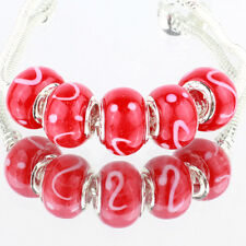 Red 5pcs MURANO glass bead LAMPWORK For European Charm Bracelet