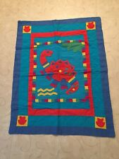 """Dinosaur Quilt Small Could be Wall Hanging Drape Very Colorful 38"""" x 60"""""""
