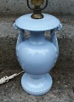 BEAUTIFUL ANTIQUE PERIWINKLE BLUE URN FORM TABLE LAMP WITH FEATHER FORM HANDLES
