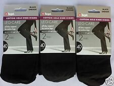 2 Pair Black Knee High Stockings OPAQUE 40 denier