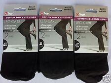 6 Pair Black Knee High Stockings OPAQUE 40 denier