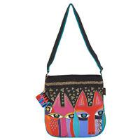 Laurel Burch Tribal Cats Canvas Small Feline Crossbody Tote Handbag Purse