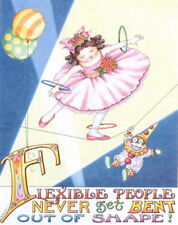 Flexible People Tight Rope Walker-Handmade Circus Magnet-W/Mary Engelbreit art