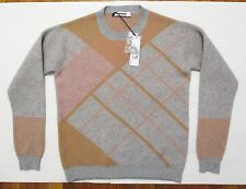 New Jil Sander Sweater 40 FR 12 US XL Cashmere Knit Plaid Pastel Gray Pink