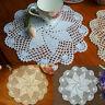 4pcs Cotton Hand Crochet Lace Doily Doilies Place Mat Coaster Round White Beige