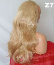 "Half Wig Fall Clip In Hair Piece flick layered Long 3/4 wig fall Blonde 24"" Z7"