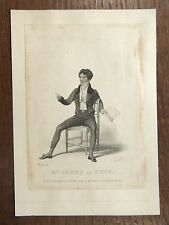 Antique Print 1827 Mr Jones as Puff GRAVURE ACTEUR ANGLAIS Actor WOOLNOTH