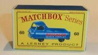 Matchbox Lesney NO 60  MORRIS J2 PICK-UP Repro  Box  style D