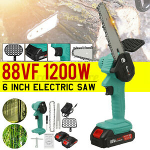1200W 18V Mini Cordless Chainsaw Electric One-Hand Saw Wood Cutter w/2 Battery