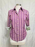 Robert Graham Women's Top M Purple Striped 3/4 sleeve Flip Cuff Button #M