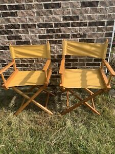 Vintage Commander Directors Folding Chair Mid Century Modern Yellow Canvas Wood
