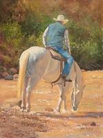 A Cool Drink by June Dudley Western Cowboy Horse & Rider Canvas Giclee 16x20